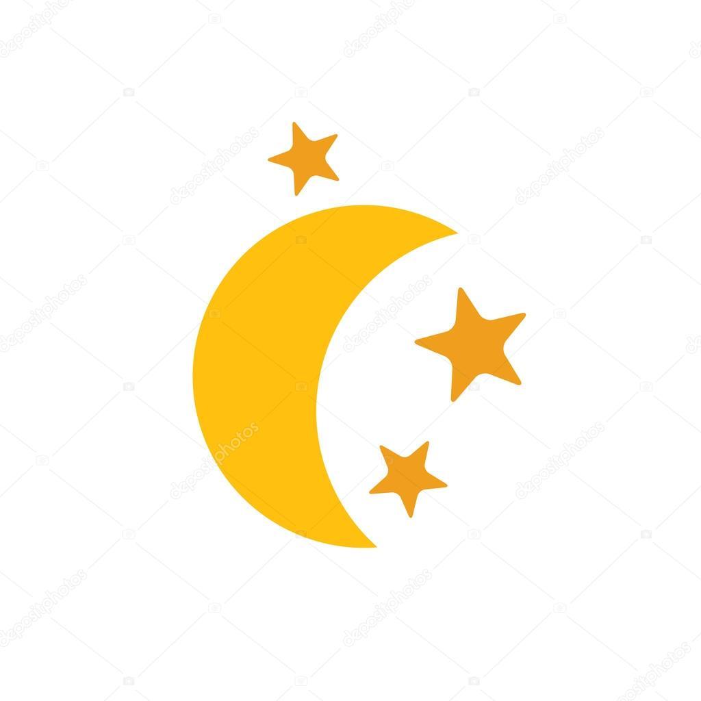 gelbgold mond stern flache websymbol — kostenloses