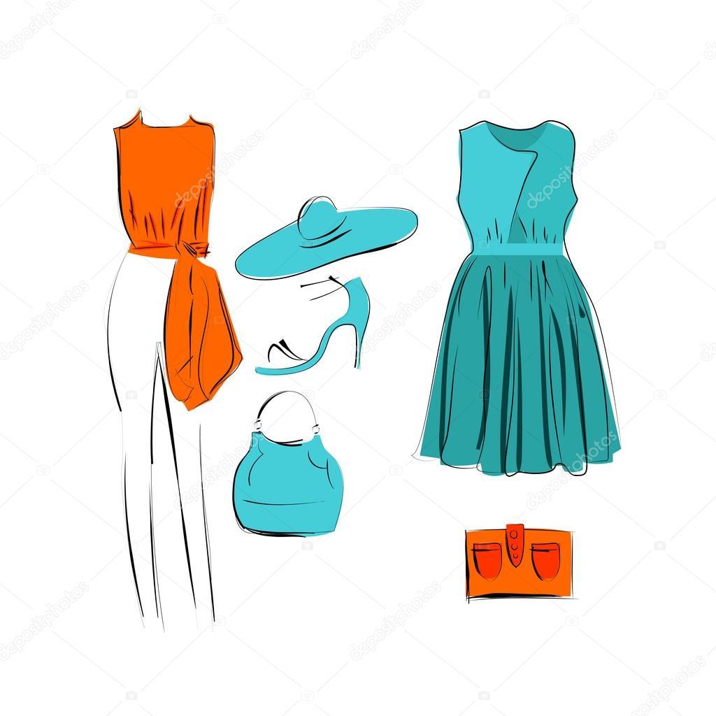 155ef8382 conjunto de ícone de roupas da moda isolado — Vetor de Stock © helen ...