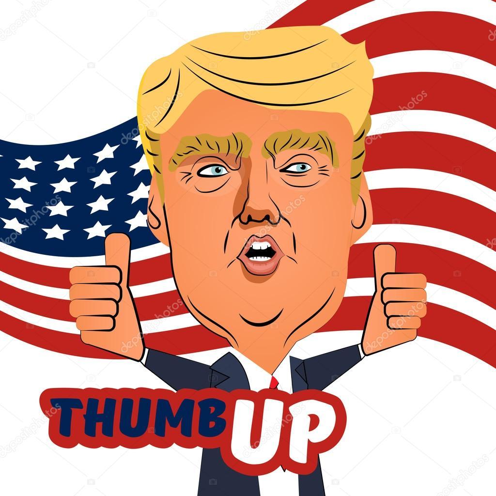 August 03 2016 Donald Trump Thumb Up Cartoon Stock Vector