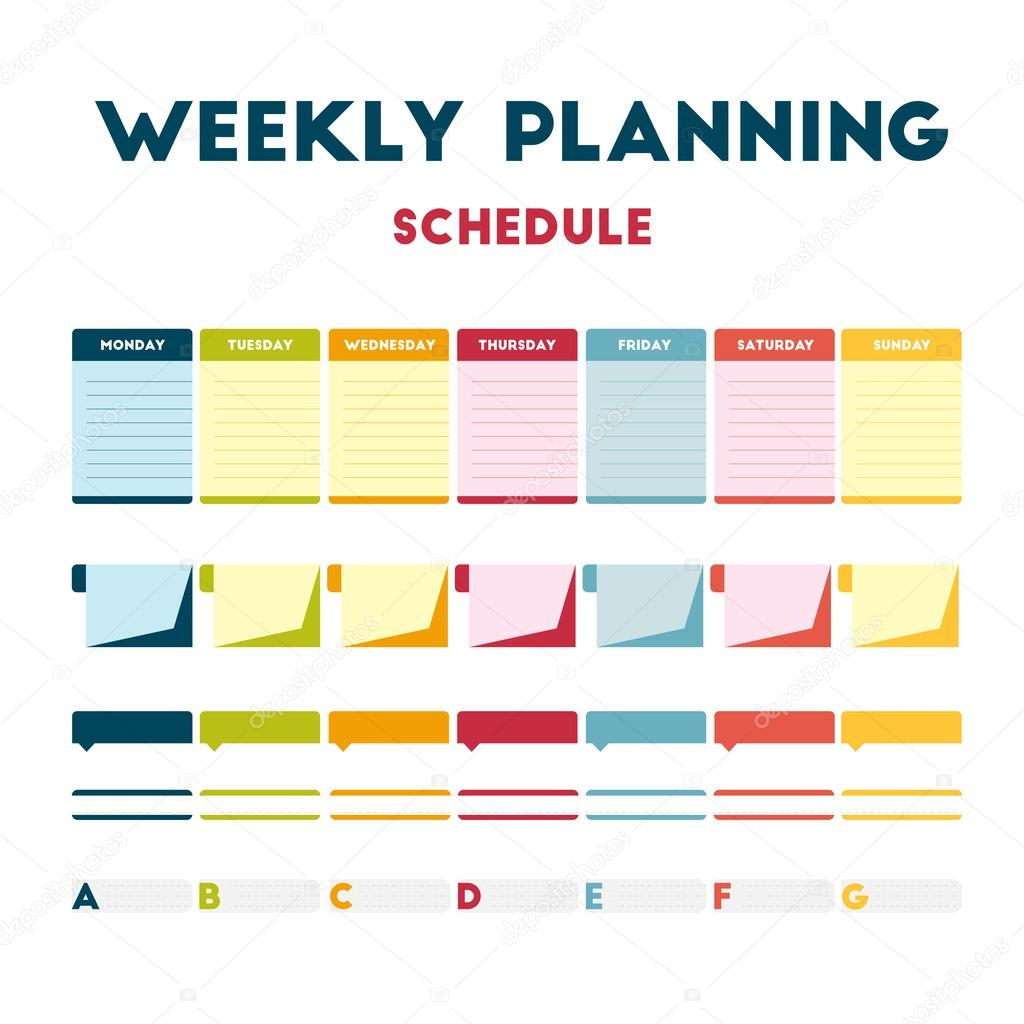 depositphotos_119221604 stock illustration weekly planning schedule