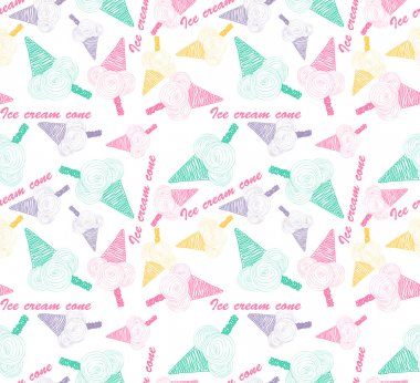 Colored seamless pattern with colorful ice cream cone