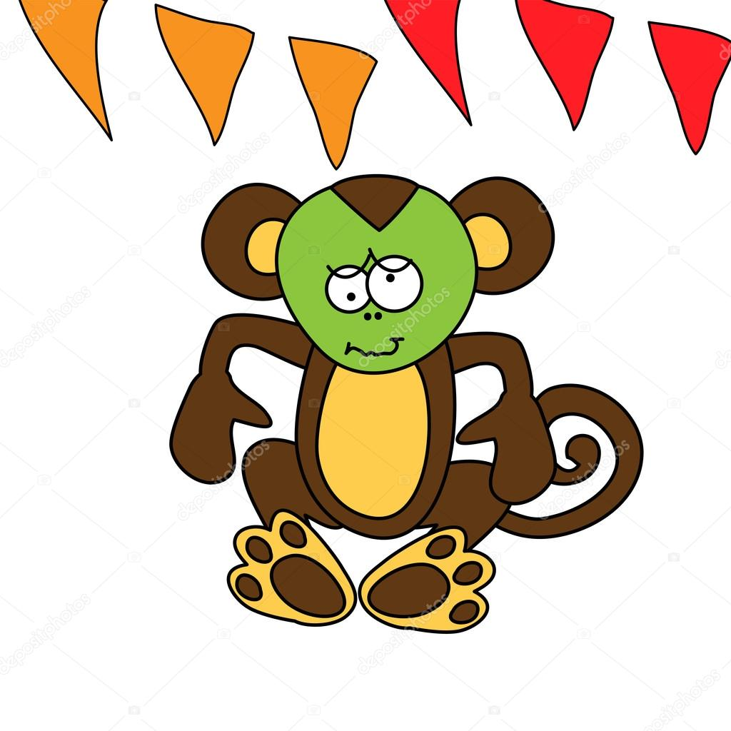 Cute brown monkey has a stomach ache