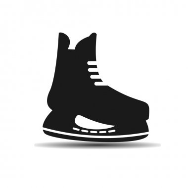 vector icon set of mens hockey skates with shadow