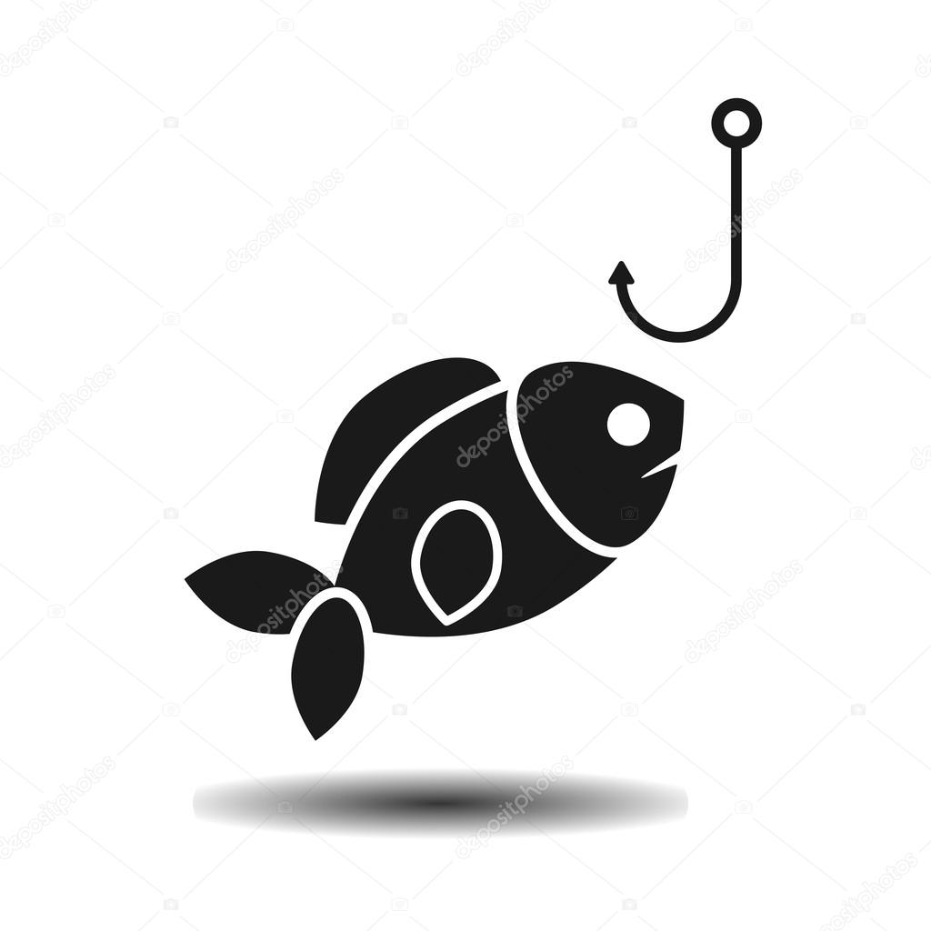 Schwarzer Fisch Schluckt Den Flachen Haken Vektor Stockvektor