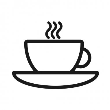 Cup and saucer with a hot beverage monochrome flat icon