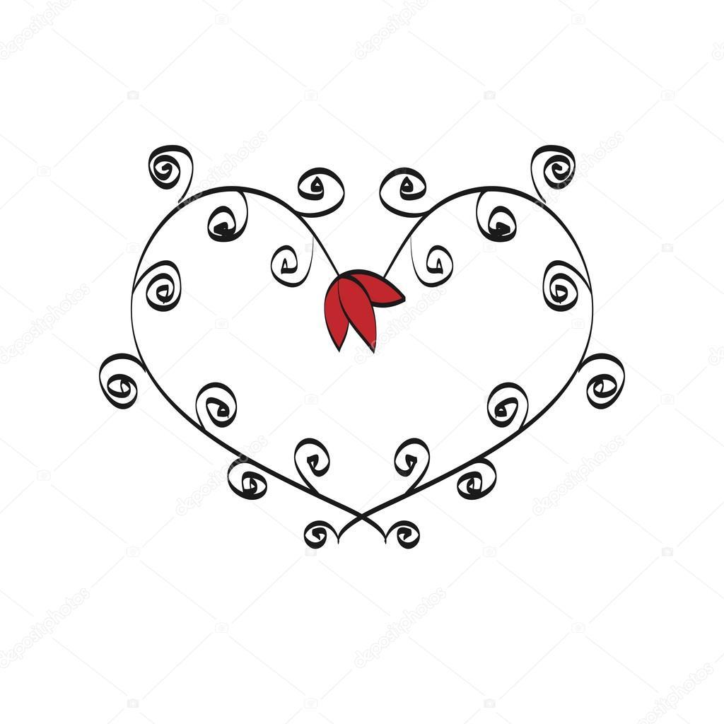 romantischen Rahmen Valentine Tag Gekritzel — Stockvektor © helen ...