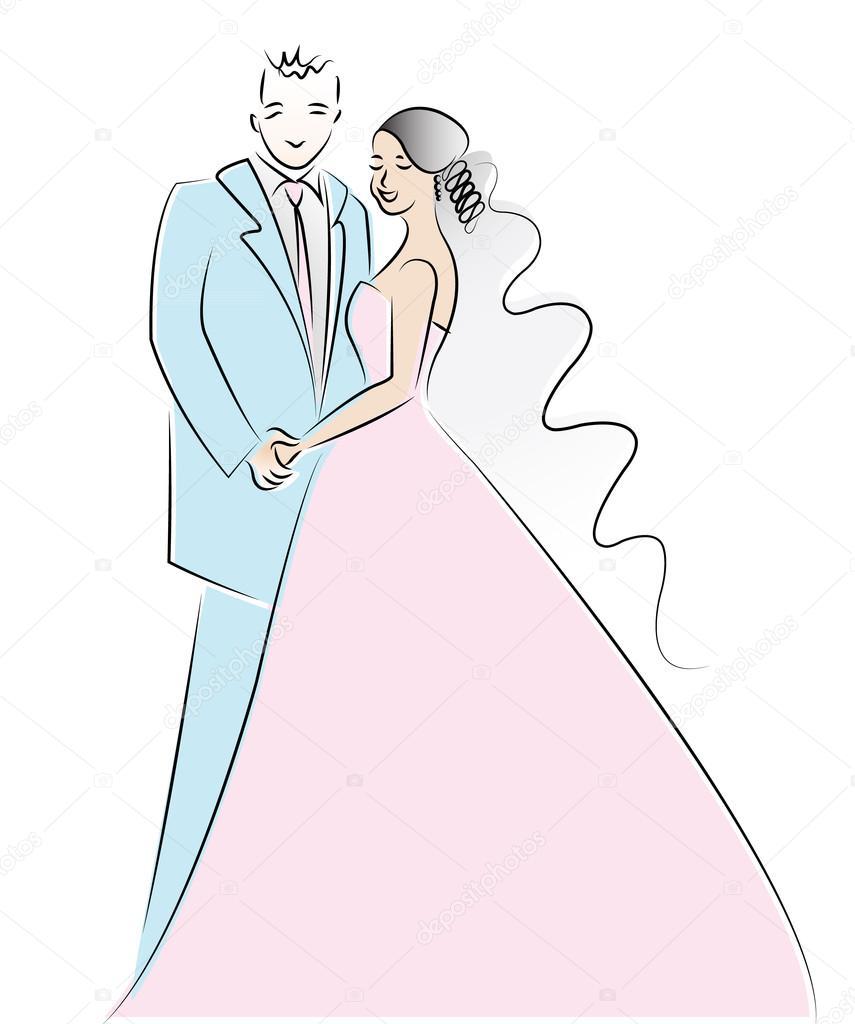Resultado de imagen de Imágenes de dibujos pareja de novios recien casados