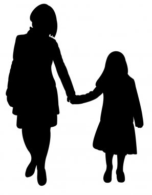 Mom and daughter together, happy family silhouette vector