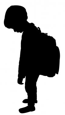 back to school kid silhouette, exhausted boy