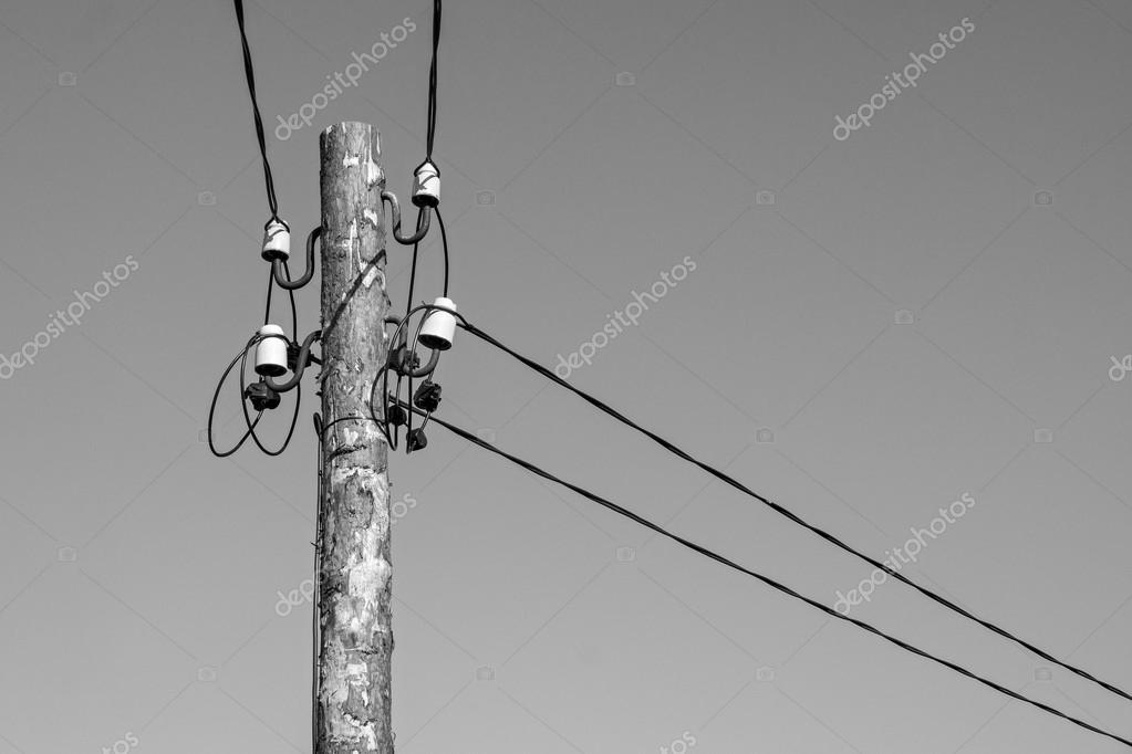 wooden column with electric wires of gray color — Stock Photo ...
