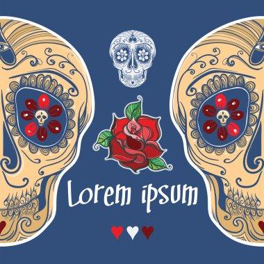 Vector template with calavera sugar skull and roses. eps 10