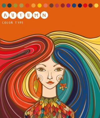 Color type of girl - autumn. Autumn girl. Colors for autumn type