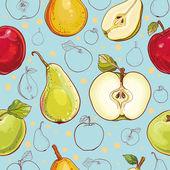 Vektorové bezešvé vzor s jablky a hruškami