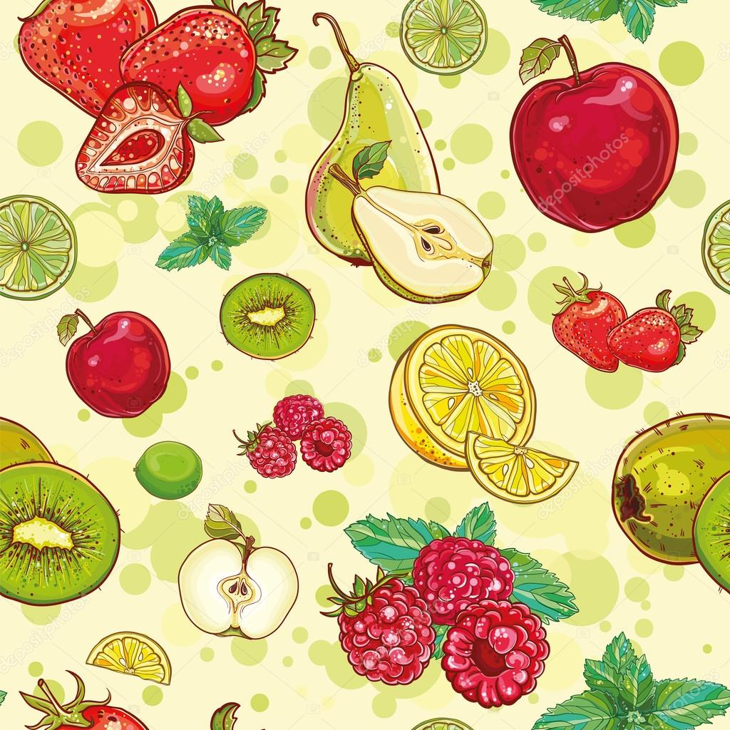 vector seamless pattern with fresh fruits and berries