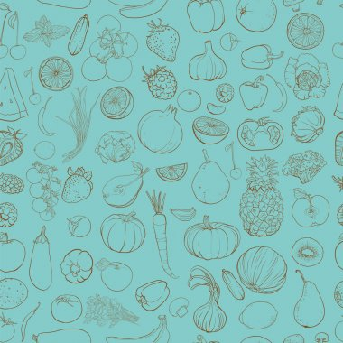 Seamless vector pattern with contour drawing of vegetables, fruits, berries