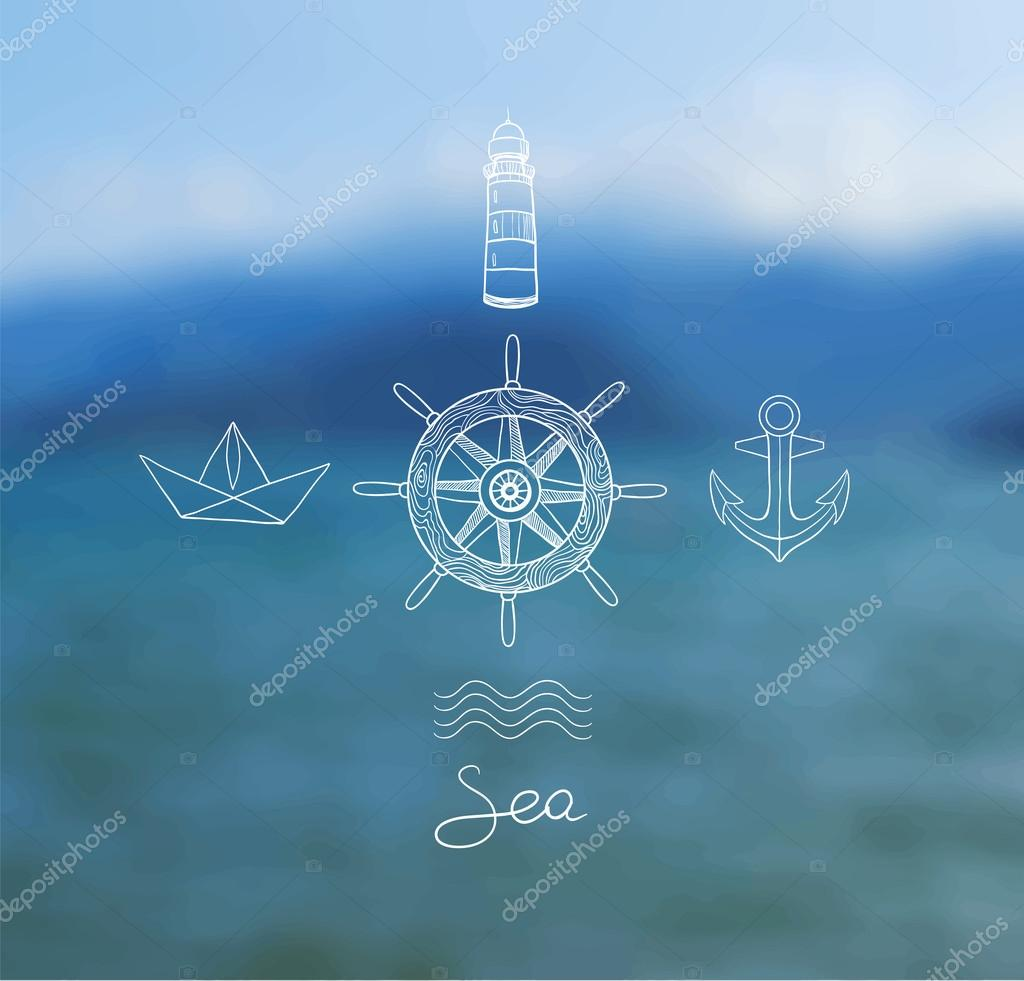 Vector blurred background with sea