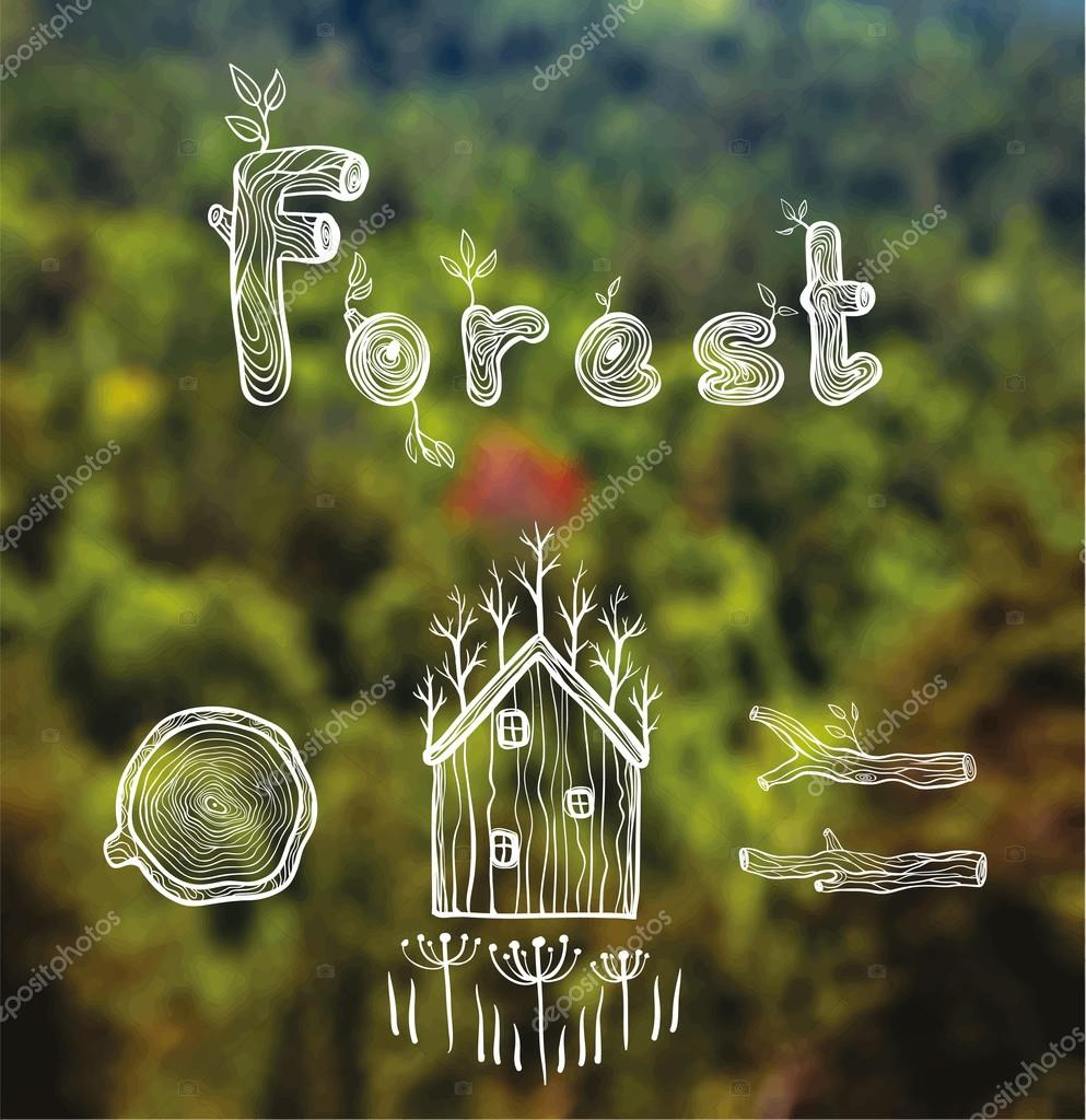 vector blurred background with forest, hut, wood, firewood