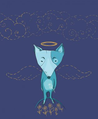 vector illustration of dog angel with wings, flowers, clouds