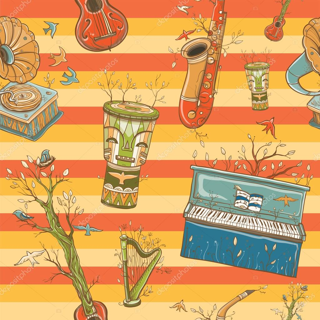 bright coloful seamless pattern with musical instruments