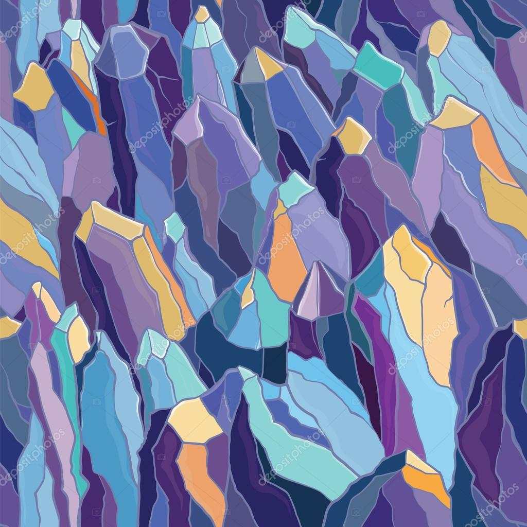 seamless pattern with crystals and stones