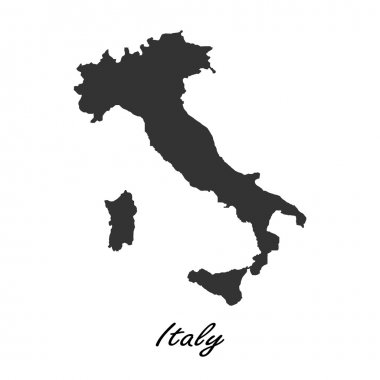 Black map of Italy for your design