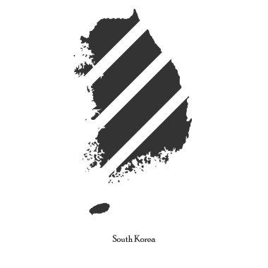 Black map of South Korea for your design