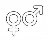 Vector illustration of the gender signs outline