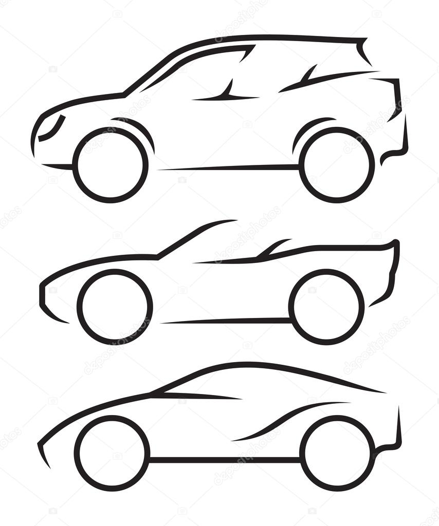 Auto-Strichzeichnungen — Stockvektor © branchecarica #58448739