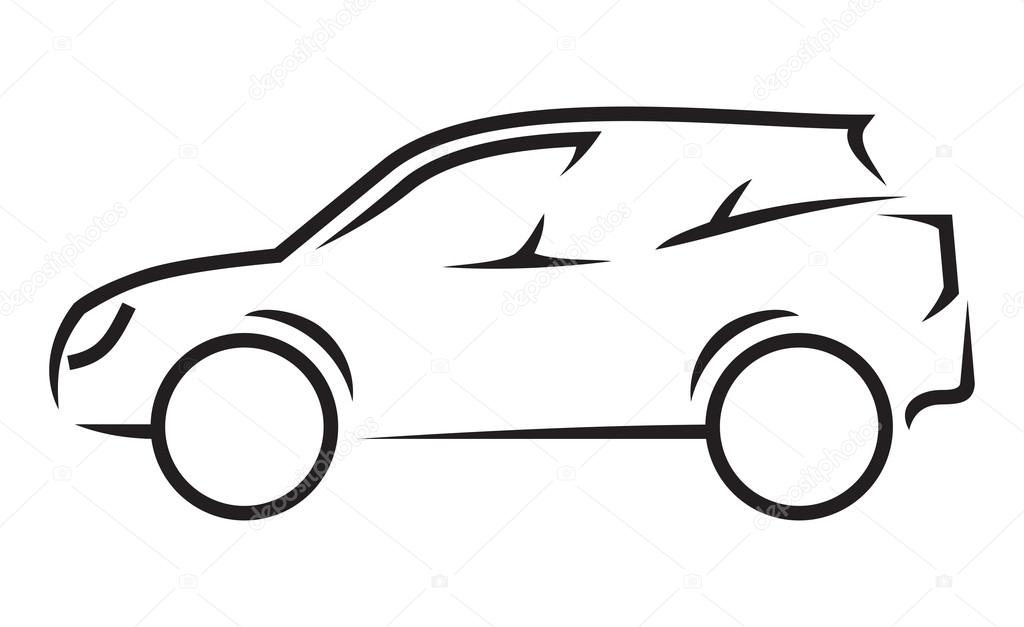 Line Art Vector Illustrator : Car line art — stock vector branchecarica