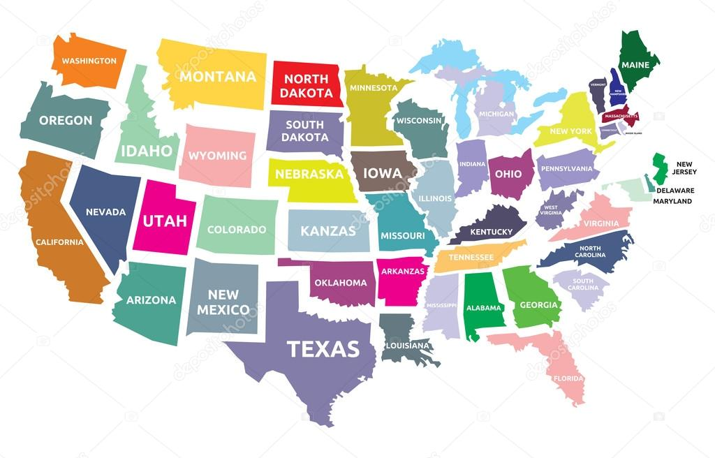 Mapa USA Z Państwami Grafika Wektorowa Branchecarica - Usa mapa
