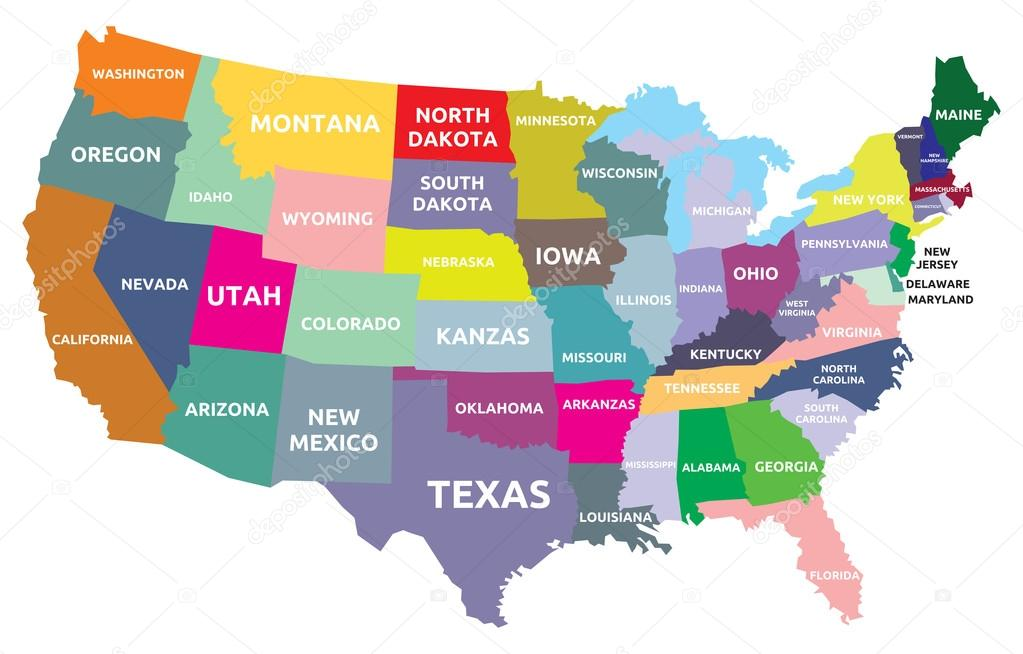 Mapa De Usa Estados.Mapa Dos Eua Com Estados Vetores De Stock C Branchecarica