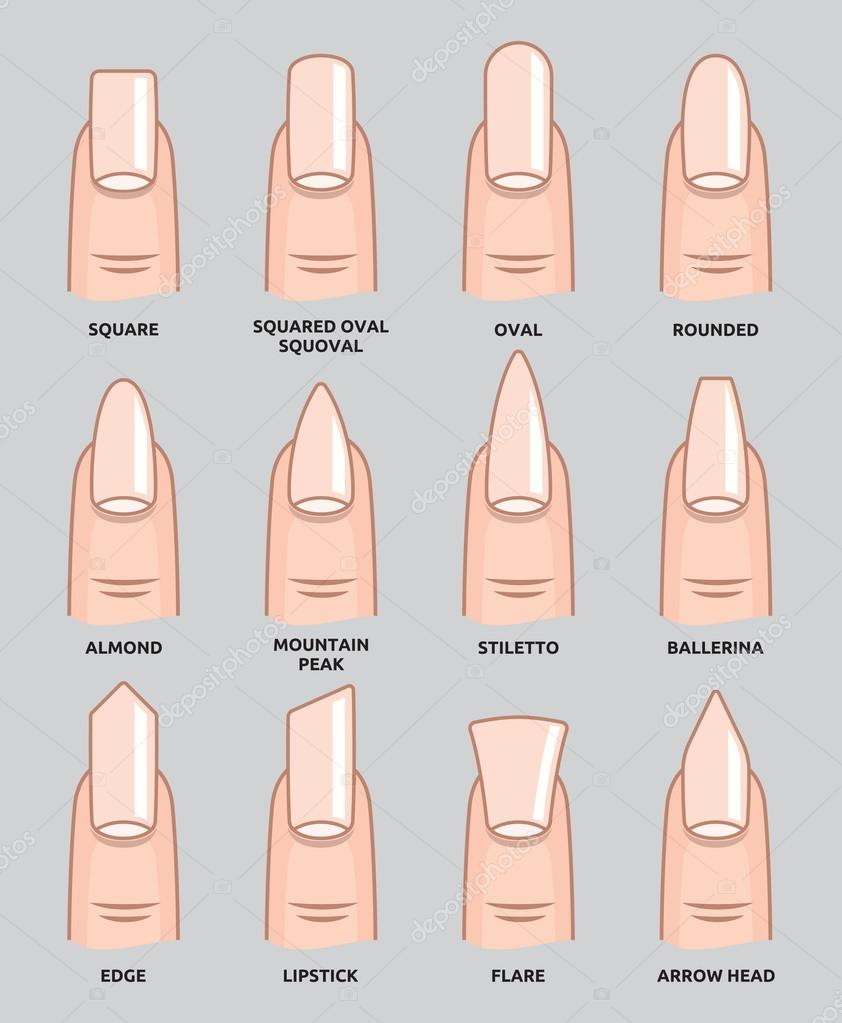 verschiedene formen - nail fingernägel modetrends — stockvektor