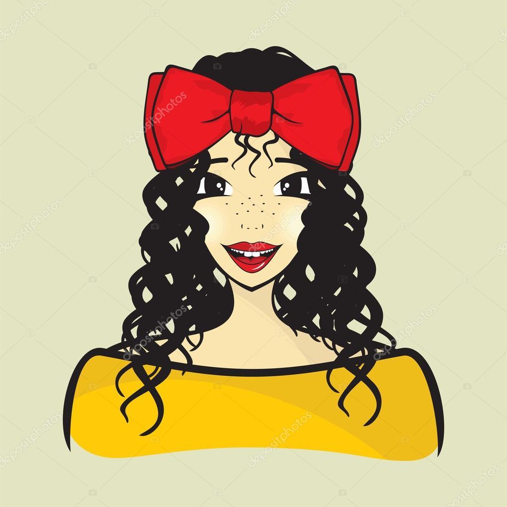 Curly Hair Girl Stock Vector C Branchecarica 98481916