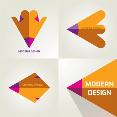 Vector Set Of Flat Logotypes From Pencil And Arrow For Designers Forum