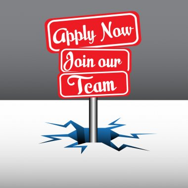 Apply now join our team signpost