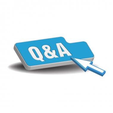 Questions and answers blue button