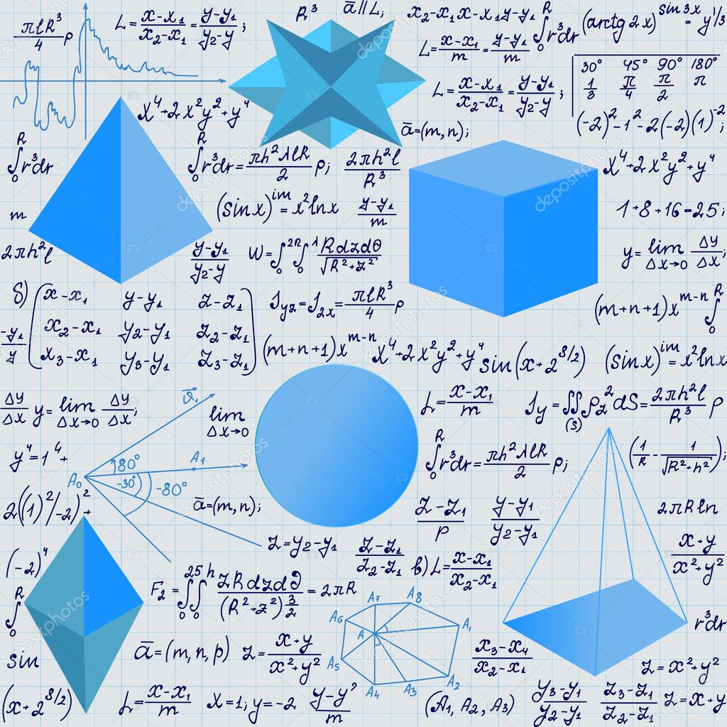 Mathematical vector seamless pattern with geometrical figures and ...