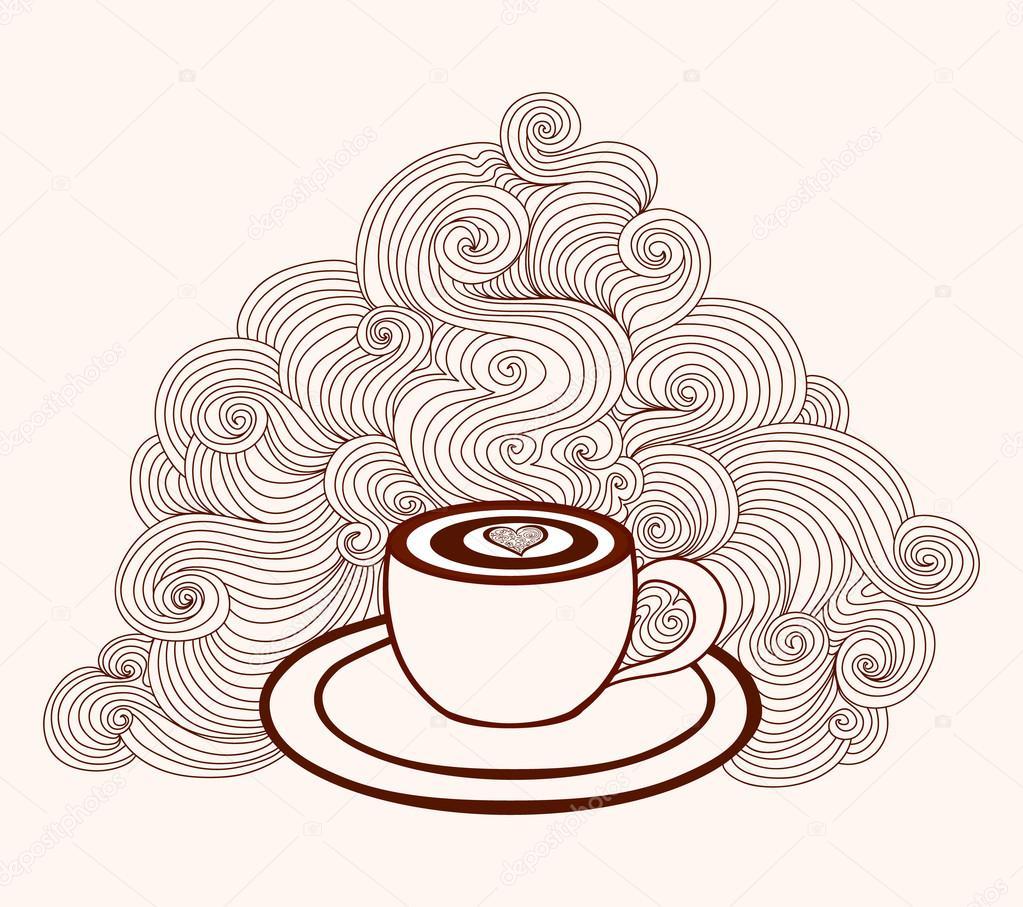 Abstrakte schöne Vektor Kaffee Tasse mit Kaffee Kunst und Linien ...