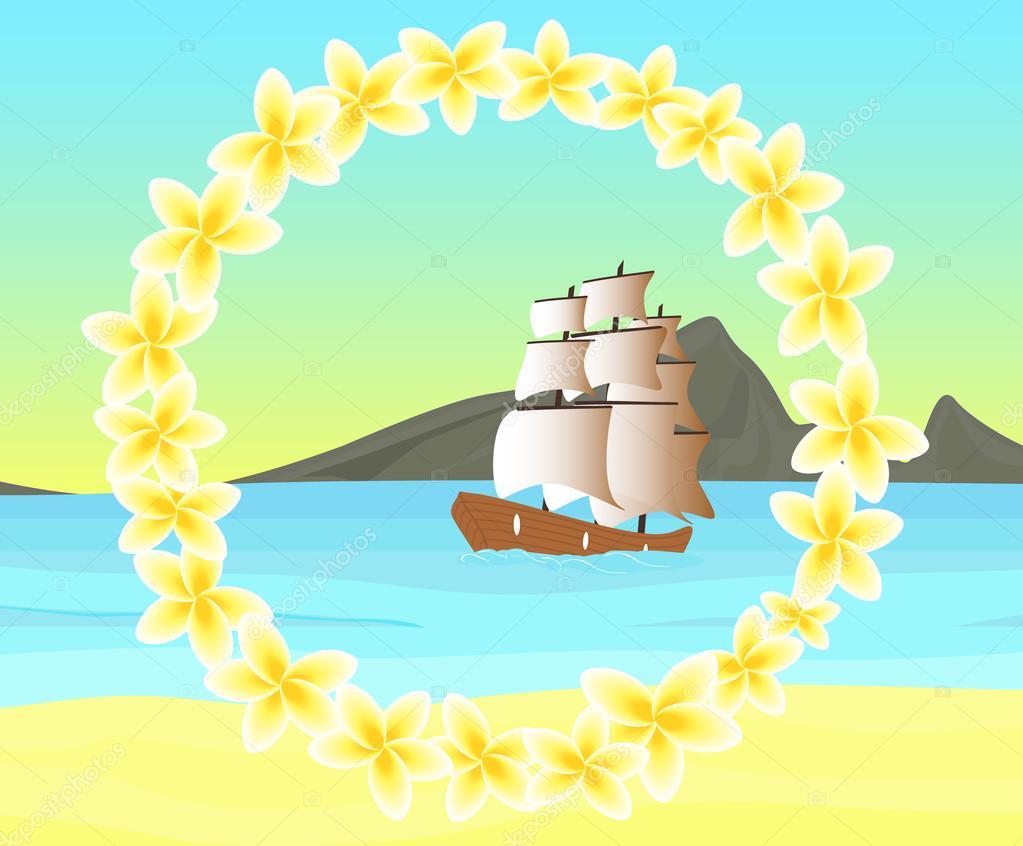Vektor Meereslandschaft mit Schiff im Meer, an der Küste der ...