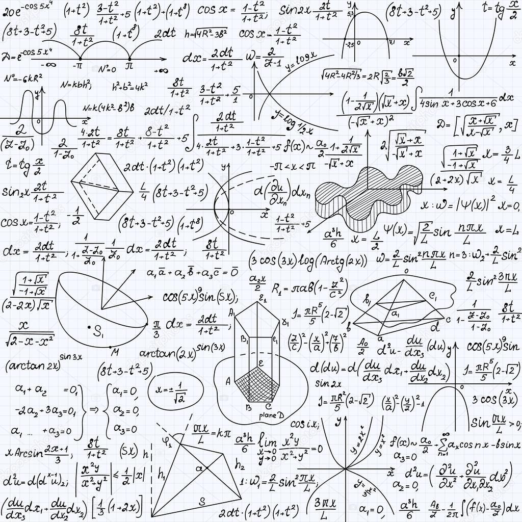 Mathematische Vektor nahtlose Muster mit Formeln, Diagramme und ...