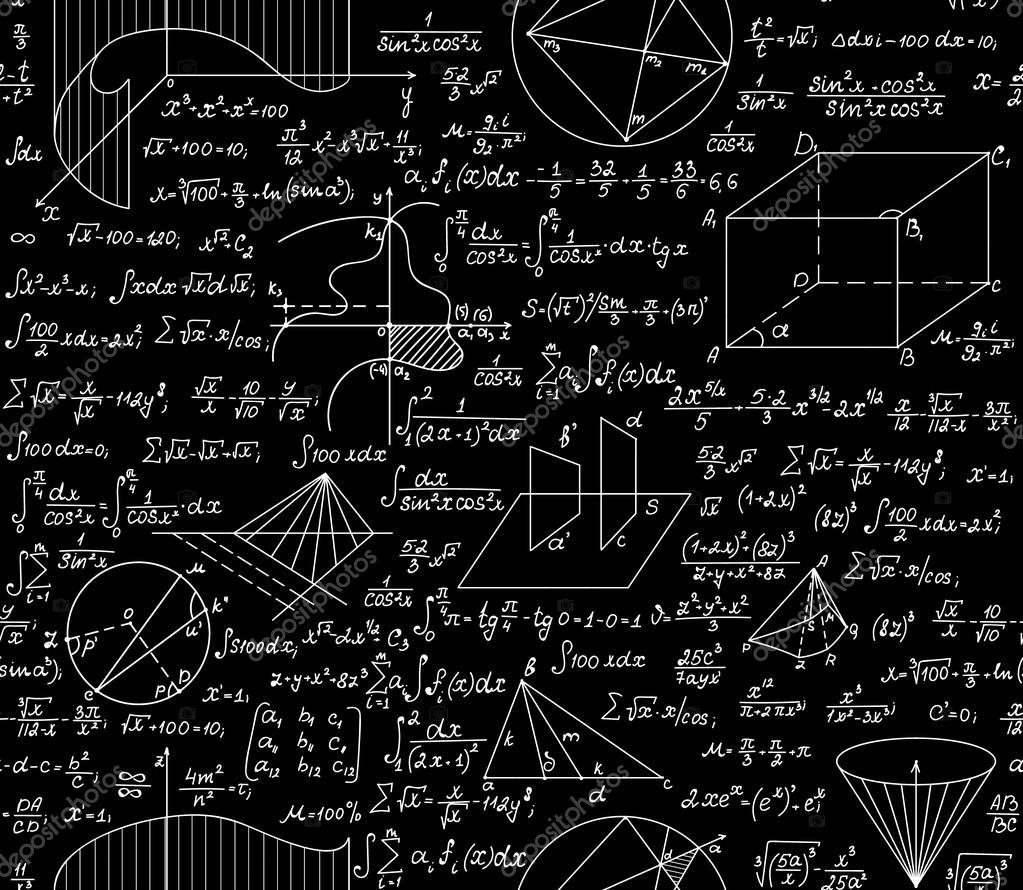 Mathematische Vektor nahtlose Muster mit Formeln, Diagramme ...