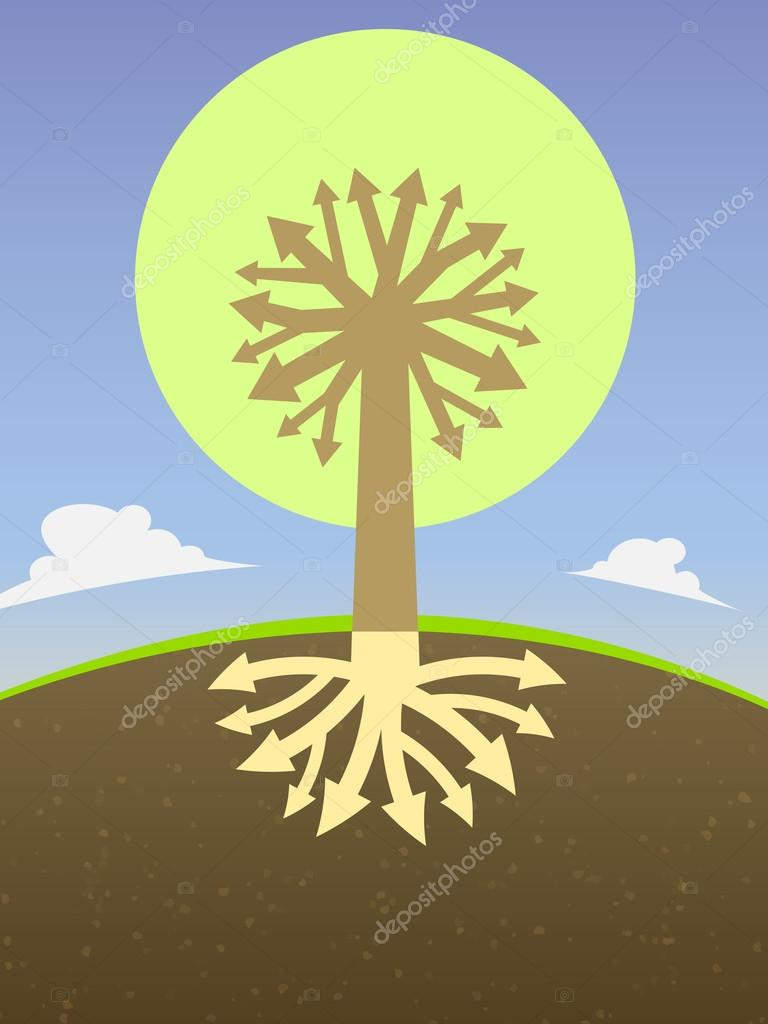 abstract tree diagram with the branches of the roots in the form of arrows  and crown– stock illustration