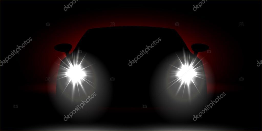 Realistic Car headlights shining in the dark