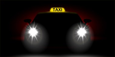 Realistic car taxi front view