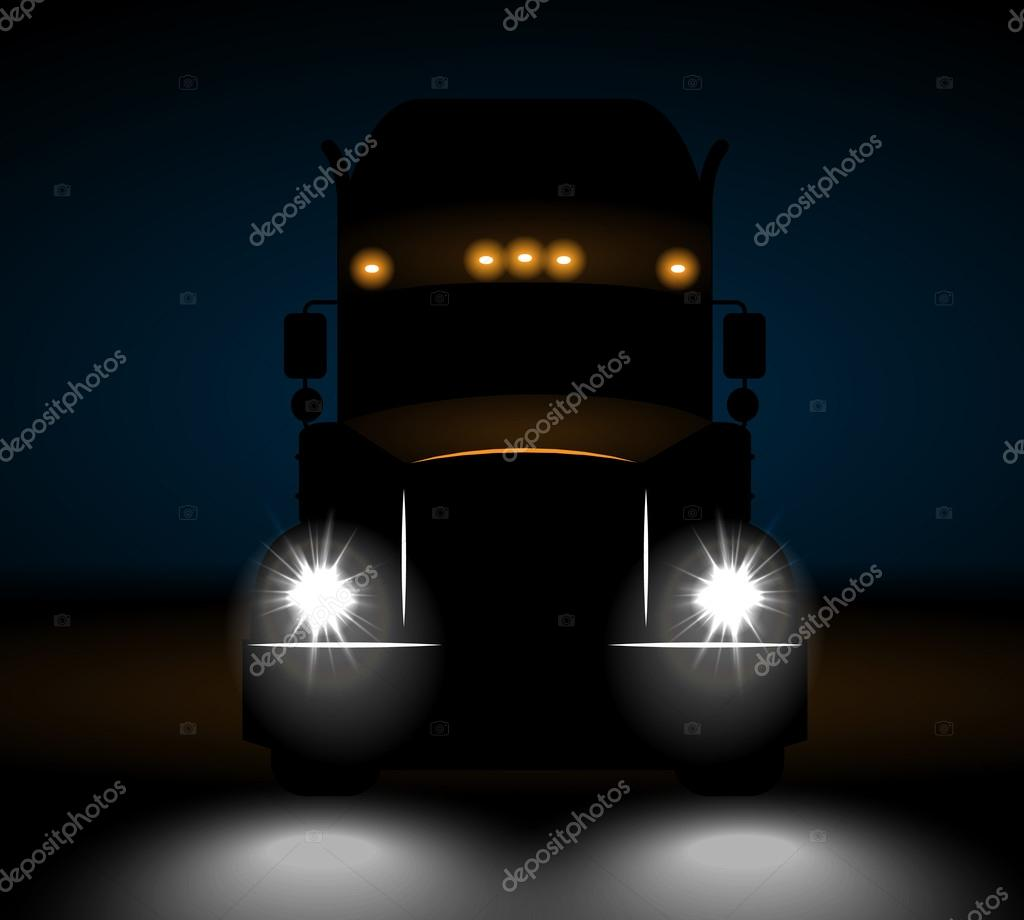 Realistic truck front view at night