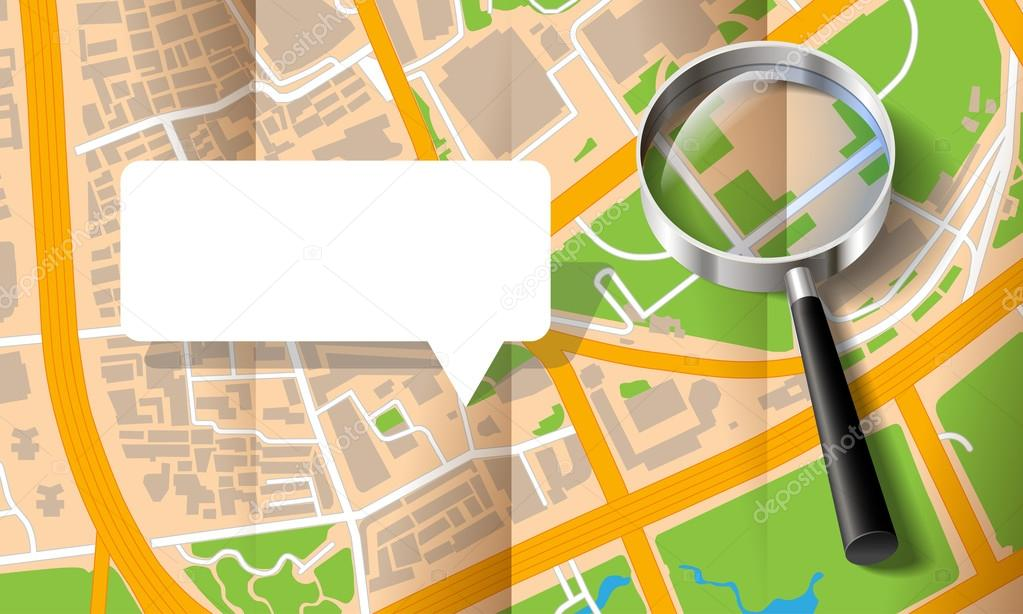 City map with a magnifying glass