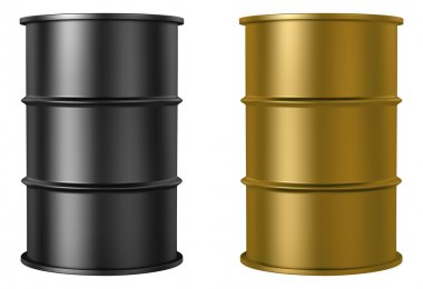 Oil barrels isolated on white background, black and gold color