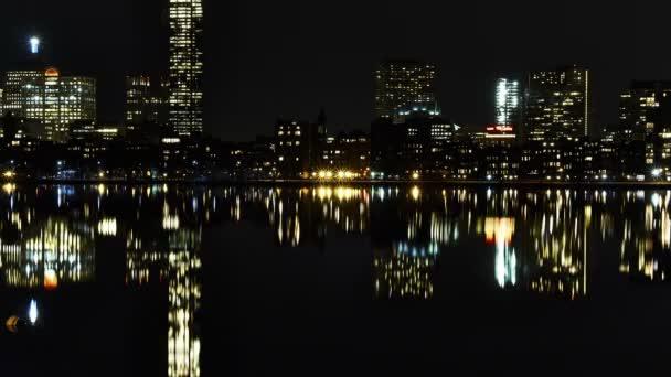 skyline di Boston di notte