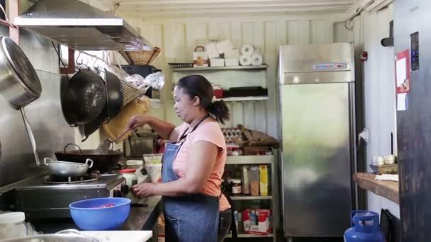 sexy mujer tetona cocinando en la cocina v deo de stock