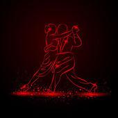 Fotografie Alle Paare tanzen Tango. Roter Neon-Vektor-illustration